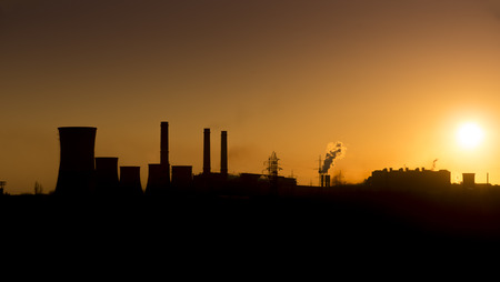 galati: Sunset over the over the silhouette factory. ArcelorMittal Galati