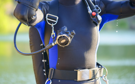 dry suit: closeup of a diverss gear