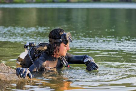 wetsuit: Beautiful woman diver