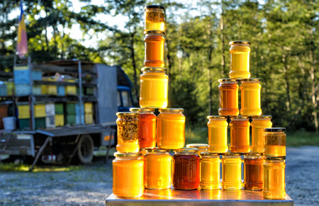 farmer's market  market: Homemade honey on the street market in Romanian mountains