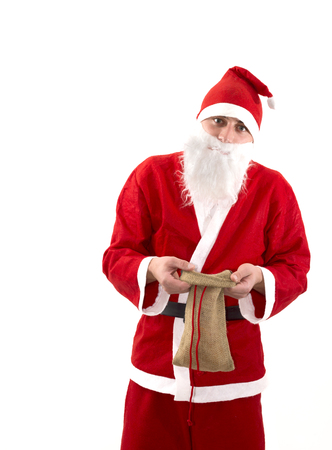 budget crisis: Poor Santa Claus with empty bag