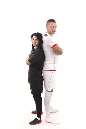 female soccer: male and female soccer players isolated on white background