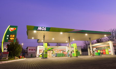 galati: GALATI, ROMANIA - DECEMBER 14, 2015. MOL gas station. MOL Group (Hungarian Oil and Gas Public Limited Company ) is an integrated oil and gas group in Hungary