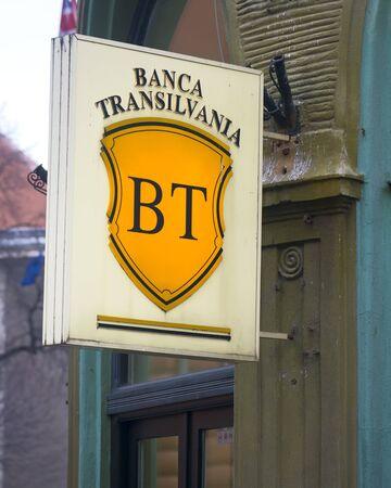 brasov: Brasov, Romania - December 8, 2015: Transylvania Bank logo in Brasov, Romania