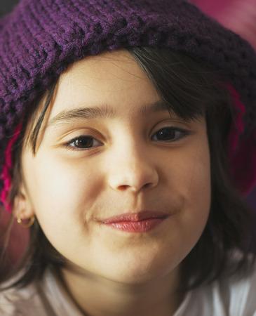 polish girl: Portrait of beauty school aged brunette kid girl with black eyes indoor