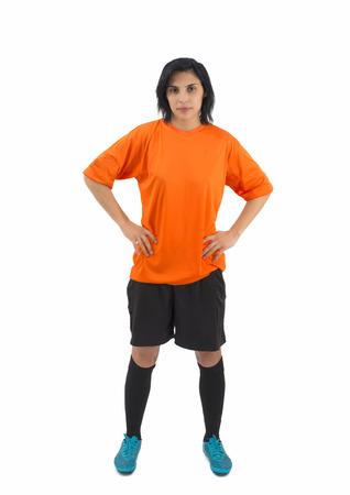 female soccer: Beautiful female soccer player