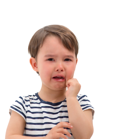 tearful: crying baby girl isolated