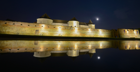 Medieval fortress in Romanian country Transylvania, city of Fagaras, night view