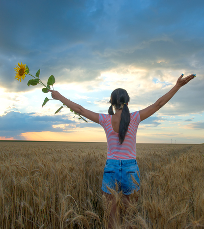 natural setting: Woman feeling free in a beautiful natural setting.