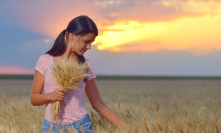 natural setting: Girl feeling free in a beautiful natural setting in wheat field at sunset