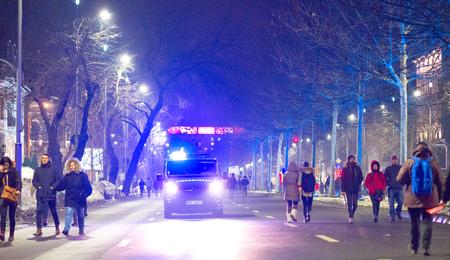 marched: Bucharest, Romania - January  2017: Thousand people marched through the Romanian capital on Wednesday night to protest the governments plan to pardon thousands of prisoners.