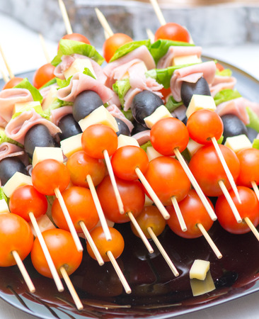 Appetizers Mix at wedding time Stock Photo - 76699036