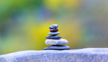 Balanced several stones on blurred beautiful background