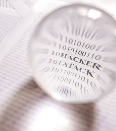 Hacker atack message revealed by an magnifying glass, by an lensball Stock fotó