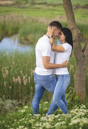 Love Couple in love romantic  summer field.