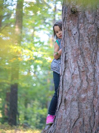 little girl climbing on a tree in the forest Stock fotó