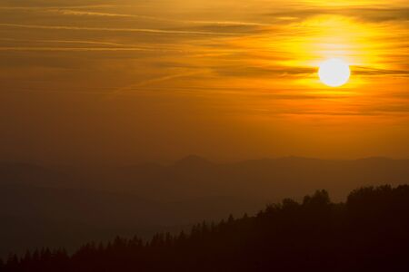 beautiful sunset over the mountain in summer time Stock fotó