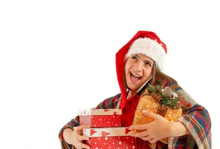Young woman with a santa claus giving a presents isolated on white background