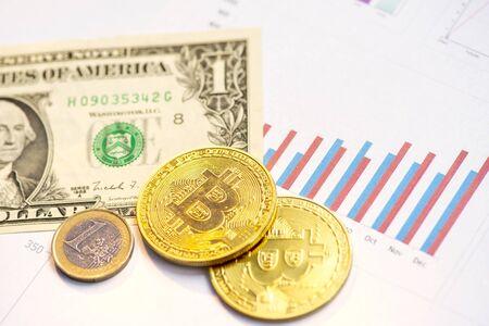 bitcoins and  us dollars. financiar concept