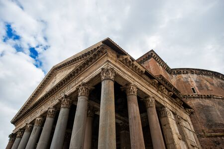 Pantheon in Rome, Italy on a cloudy day Banco de Imagens