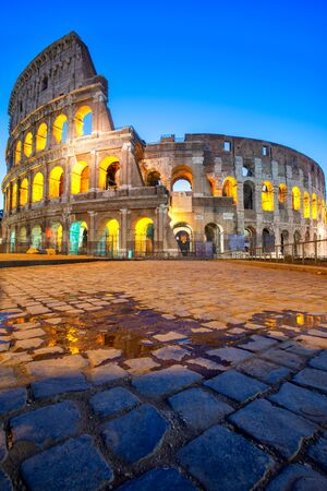 Night view of Colosseum in Rome, Italy. Rome architecture and landmark. Rome Colosseum is one of the main attractions of Rome and Italy