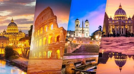 Promotional banner of Rome - four pictures collage
