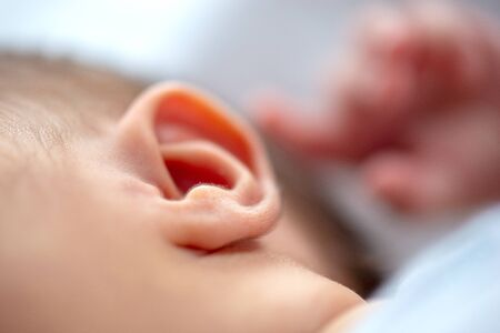 Closeup of a newborn ear Stok Fotoğraf