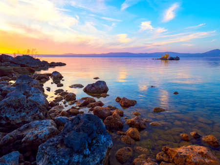 Breathtaking sunset at Bracciano Lake, Italy Stock fotó