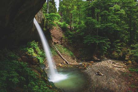 Deep forest river wild waterfall view. 版權商用圖片