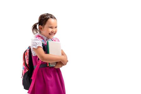 Portrait of happy school girl in studio 版權商用圖片 - 155192282