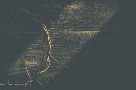 Crown of thorns on wooden table, closeup with space for text. Easter attribute