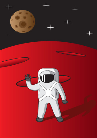 space suit: Cosmonaut on mars saluting with his hand