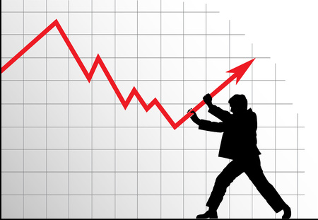 struggling: Concept vector anti-crisis image. Man pushing the graph. Illustration