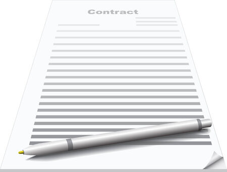 signing papers: Vector illustration of contract and ballpoint pen
