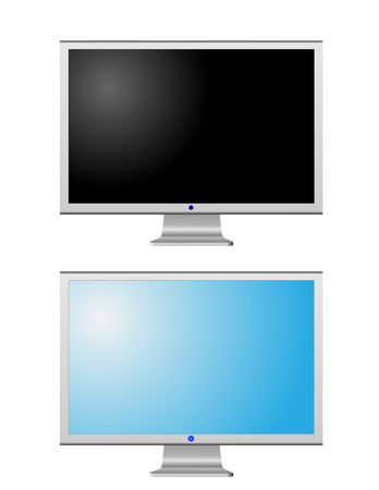 Turned off and turned on LCD monitors isolated on white  Stock Vector - 4883257