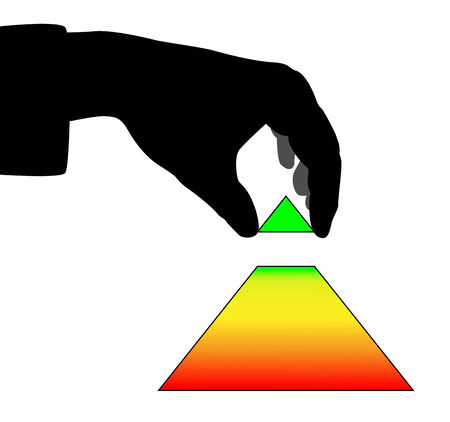 put: Hand holding the top section of pyramid and going to put it in place Illustration