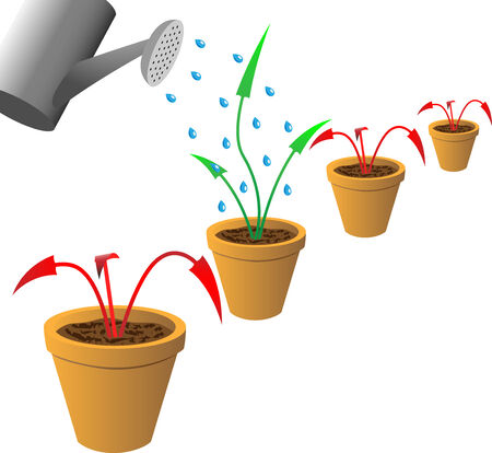 Red withered and green growing arrows in flowerpots. Concept antirecession vector image. Vector