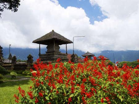 Ulun Danau Temple flower garden on lake Bratan, Bali, Indonesia Stock Photo - 4902128