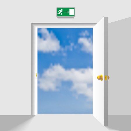 leading: Opened doorway leading to the heaven. Concept vector illustration.