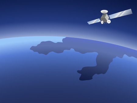 Satellite orbiting around the planet through the space Illustration