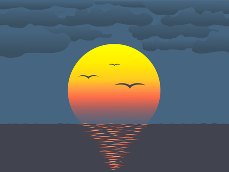 Vector illustration of sunset over  water reflecting on water surface Vector