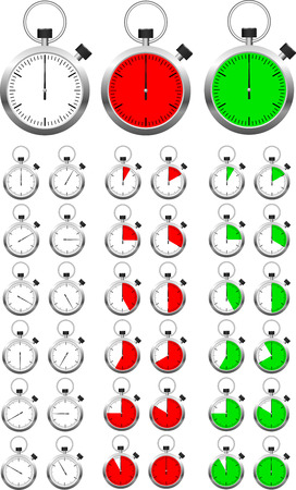 Set of vector stopwatch timers indicating different periods of time. Easy editable sections, it's 12 segment of circle in separate layer. You can just remove unnecessary ones. Stock Vector - 4932115