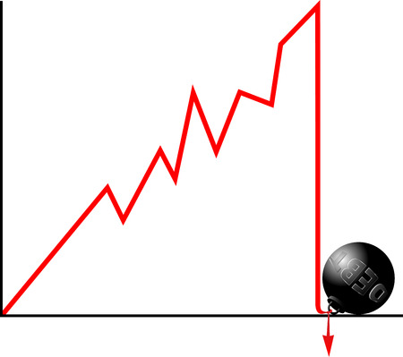 crashed: Bankruptcy because of debt concept.  Crashed down graph fastened to weight symbolizing debt.