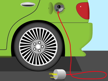 detriment: Vector illustration of rear part of electric car. Earth friendly ecological technology. Illustration