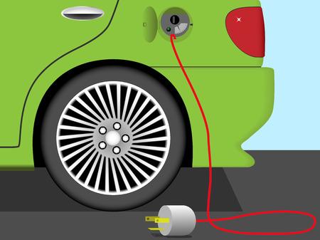 Vector ilustraci�n de la parte trasera del coche el�ctrico. Tierra tecnolog�a ecol�gica amigable.