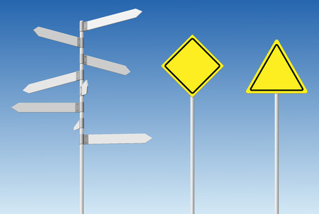 Choice and warning concept. Blank direction signpost and guard road posts on blue sky background.