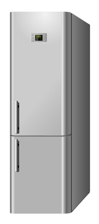refrigerate: New modern domestic  electric refrigerator isolated on white background