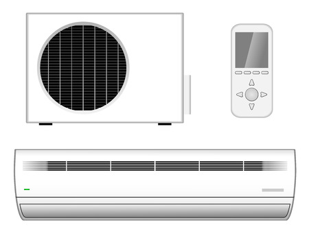 cooler: Vector illustration of new modern air-conditioner with outside part and remote control isolated on white background Illustration