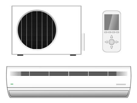 conditioning: Vector ilustraci�n de aire acondicionado nuevo y moderno con la parte exterior y el control remoto aisladas sobre fondo blanco
