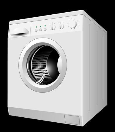 puertas de cristal: Ilustraci�n vectorial de nueva lavadora de blanco aislado sobre fondo negro Vectores